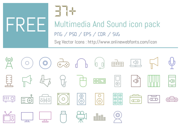 37 Multimedia And Sound Icons Packs Free Downloads - OnlineWebFonts COM
