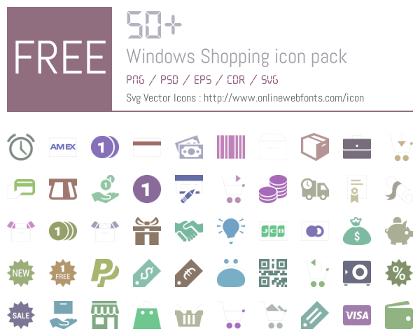 50 Windows Shopping Icons Packs Free Downloads - OnlineWebFonts COM