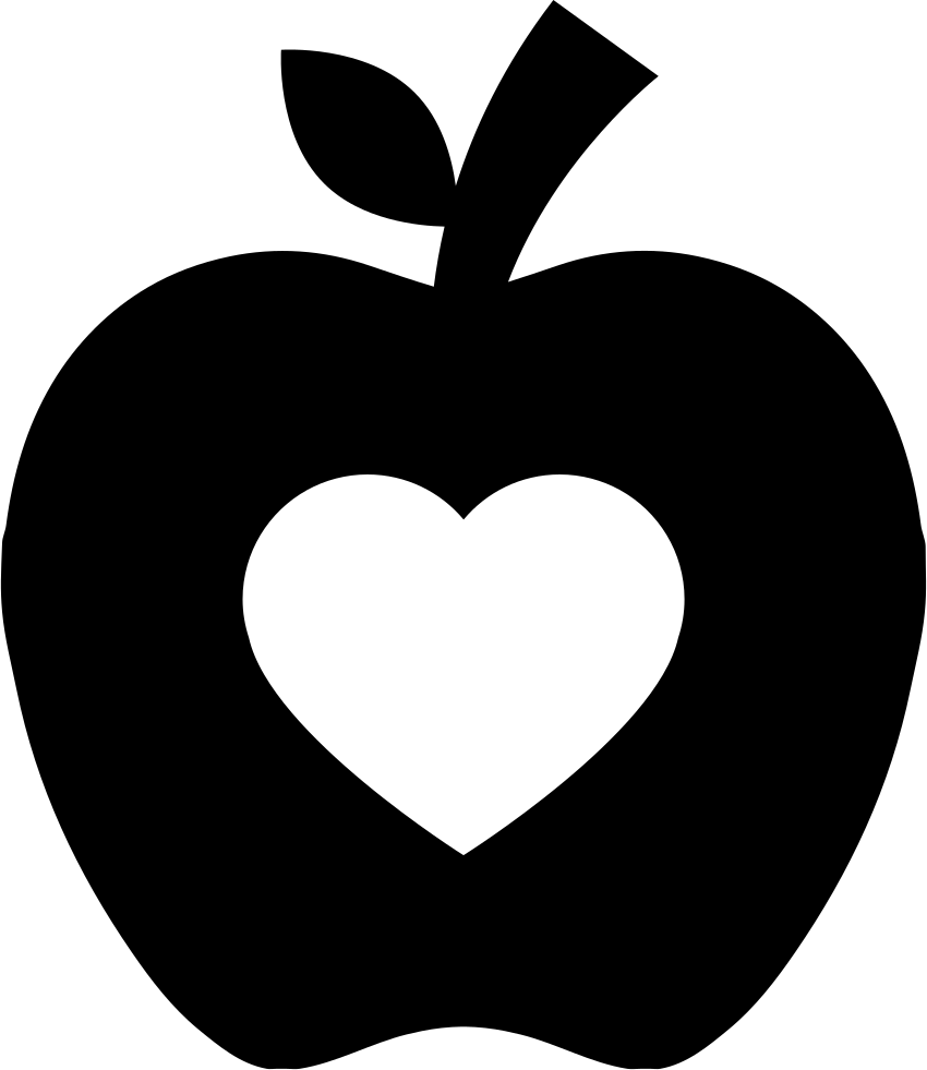 Apple Silhouette With Heart Shape Svg Png Icon Free Download (#59530