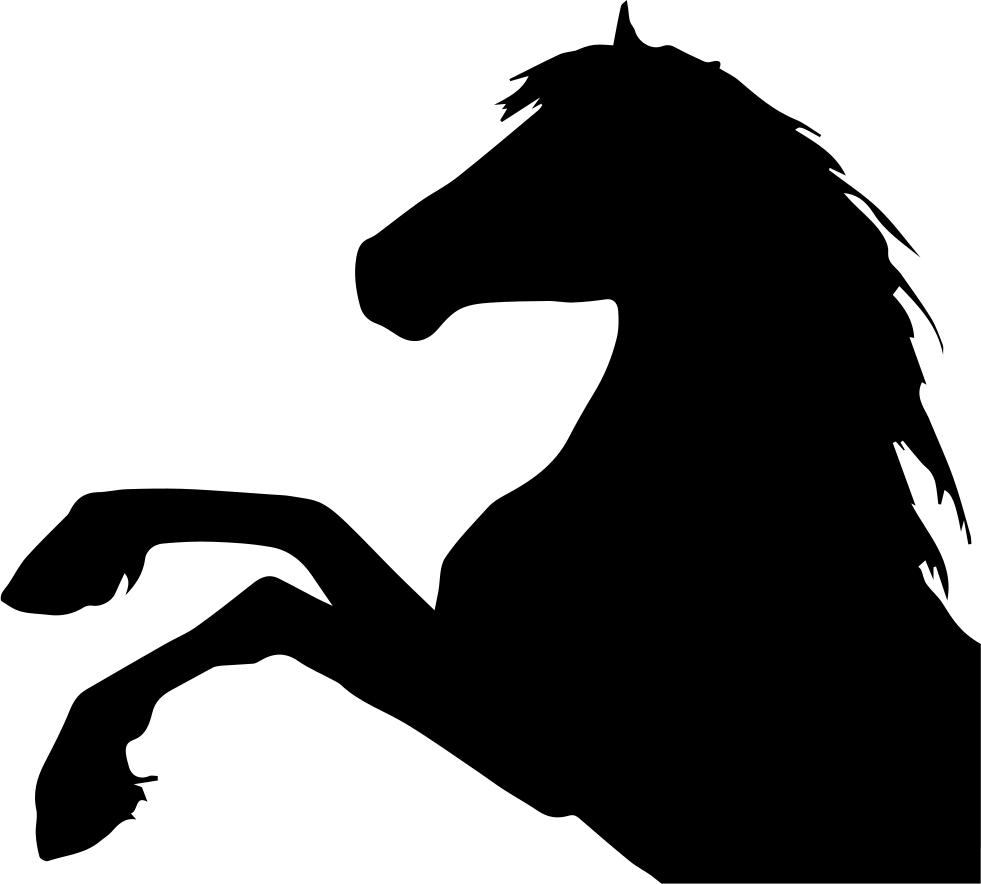 Horse raising feet side view silhouette head part svg png icon free download 74322 - Clipart cheval ...