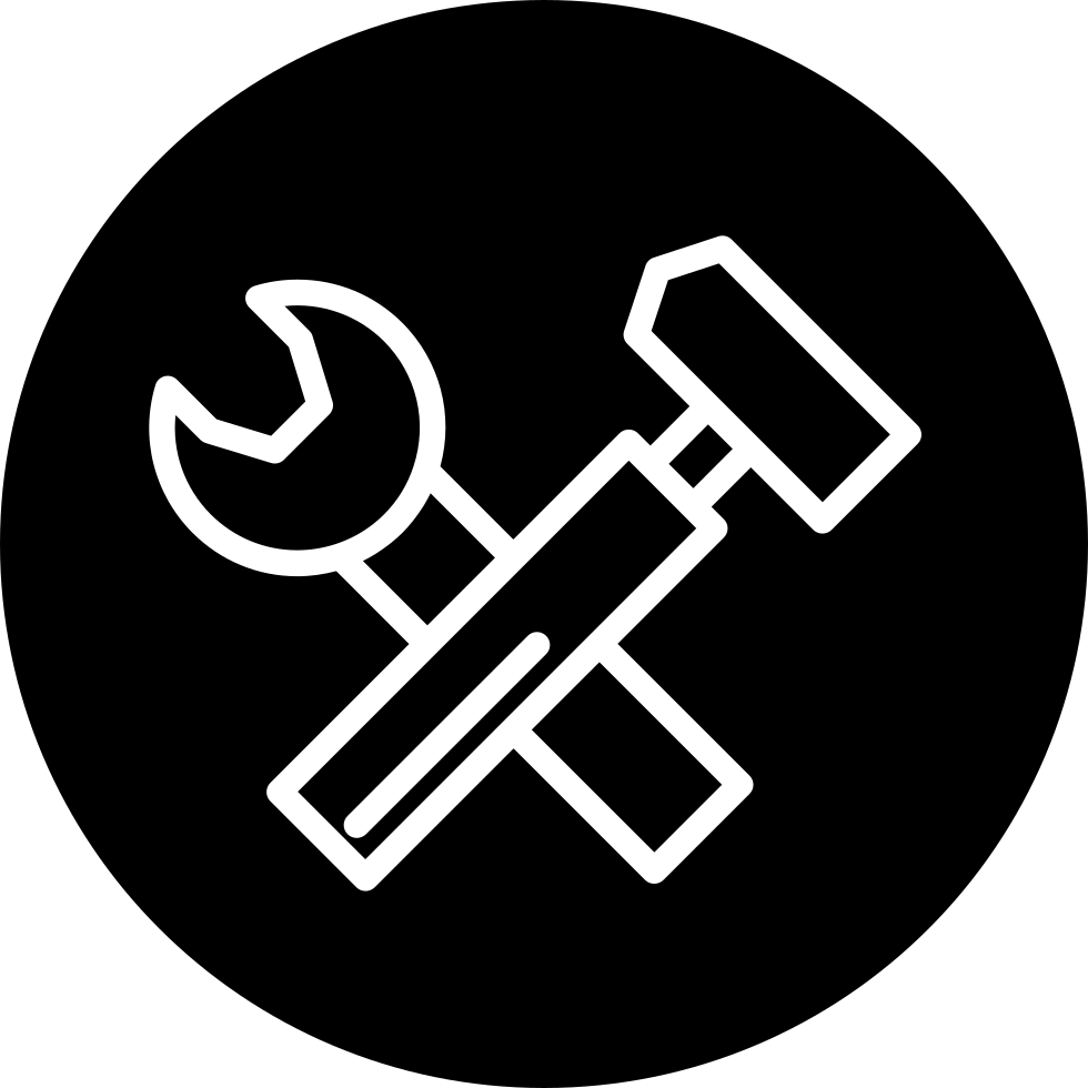 Strengths Icon With Png And Vector Format For Free: Wrench And Hammer Tools Thin Outline Symbol Inside A