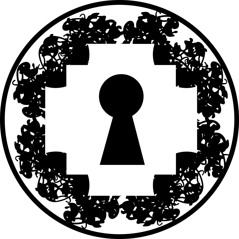 Keyhole In Pixelated Rhomb Shape Inside A Circle Svg Png