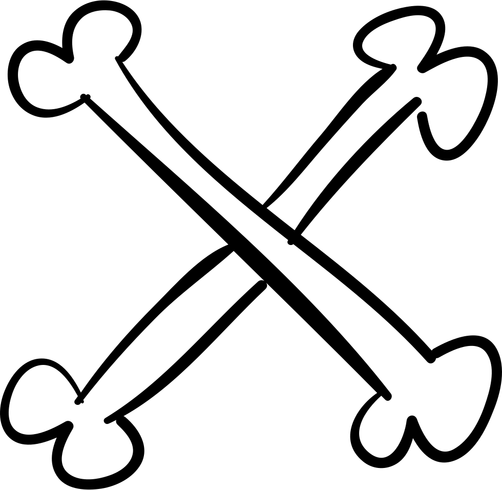 Cross Of Bones Outline Svg Png Icon Free Download (#28313