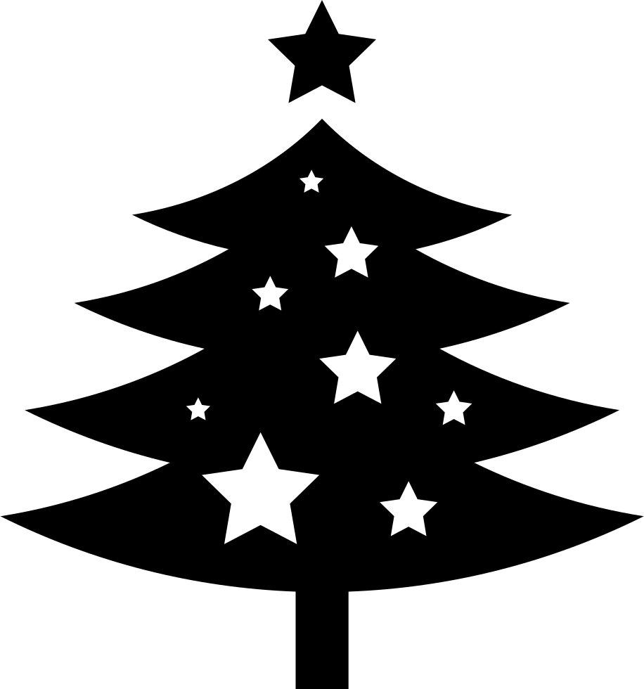 christmas tree ornamented with stars svg png icon free