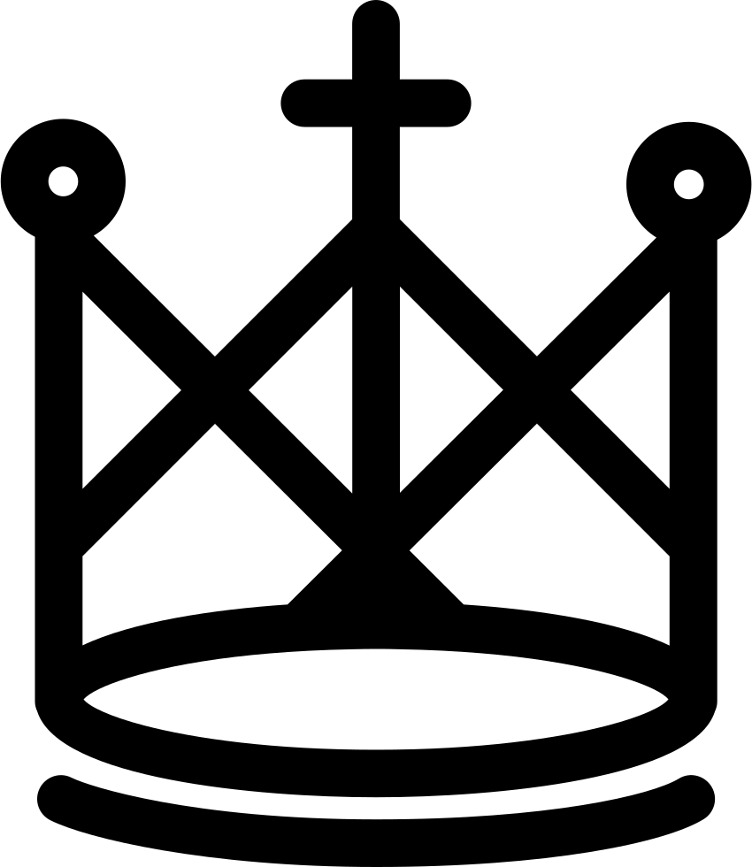 Royal Crown Design Of Lines With A Cross In The Middle Svg Png Icon