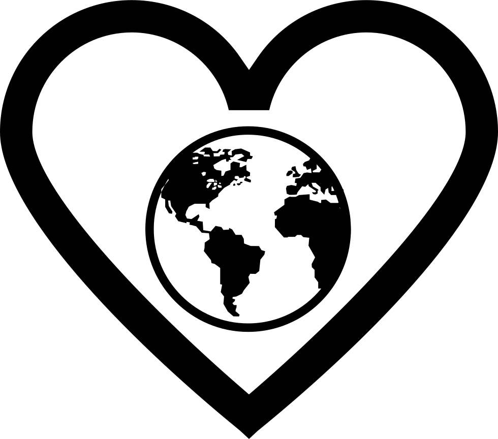Earth Globe In Heart Outline Comments