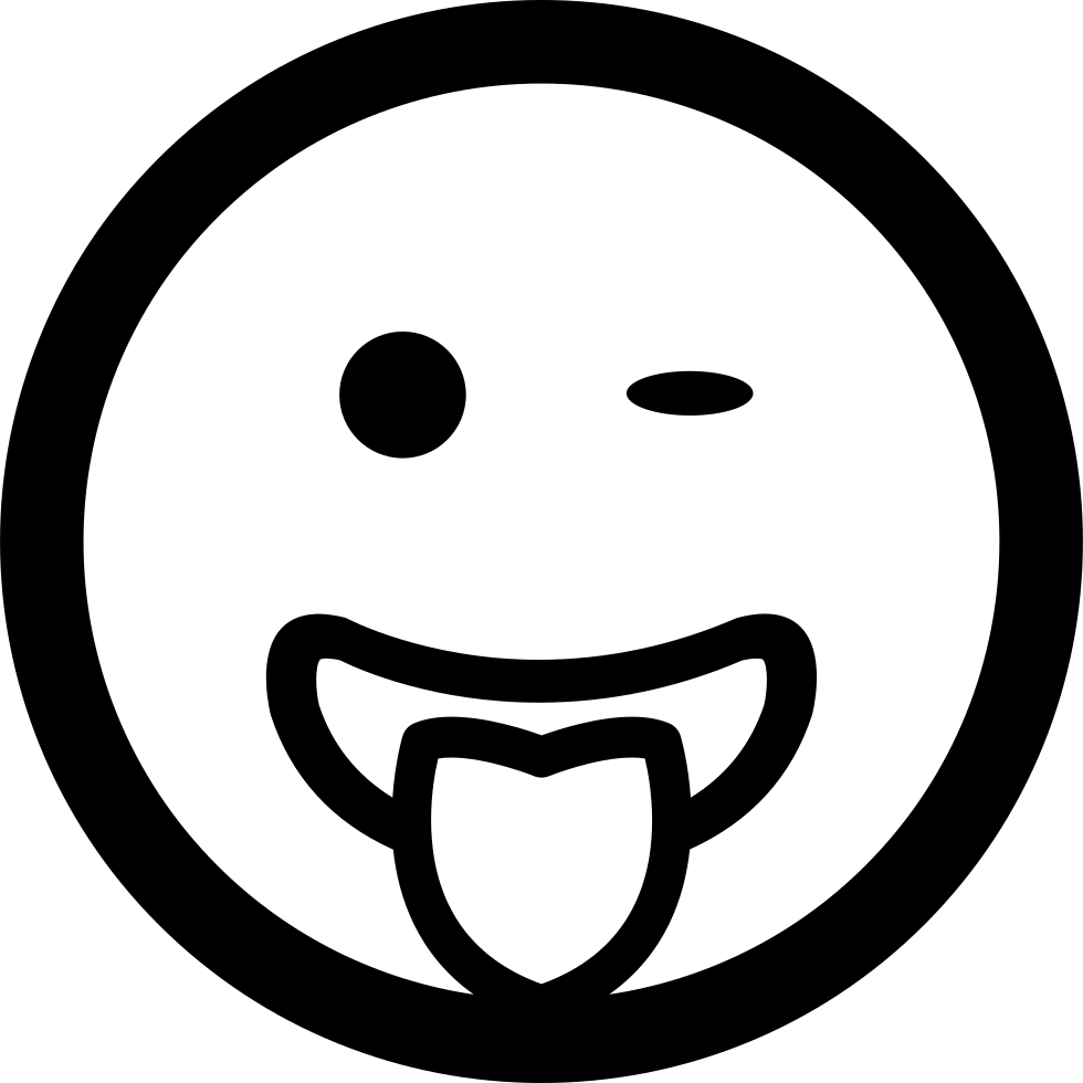 winking emoticon smiling face with tongue out of the mouth in square