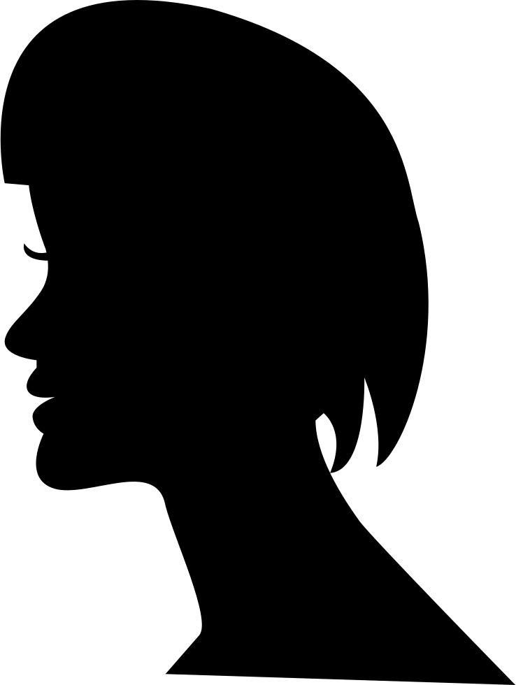 female head silhouette from side view with short hair style cut svg