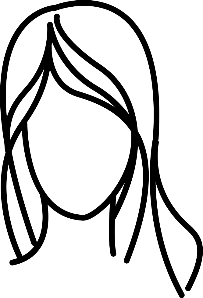 Female With Long Wavy Hair Outline Svg Png Icon Free Download