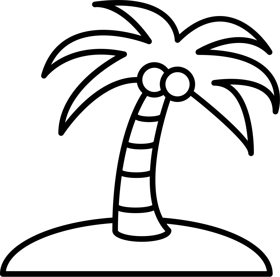 Coconut Tree On An Island Svg Png