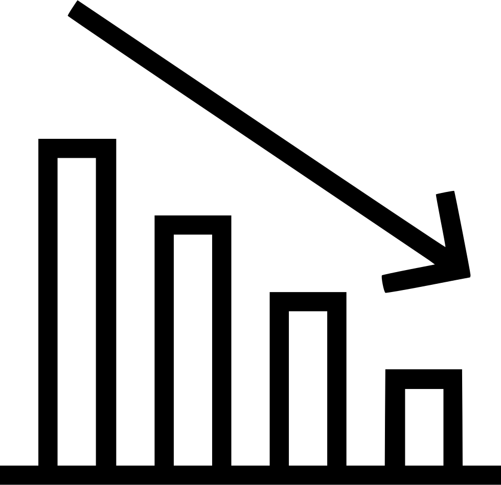 bar chart report analytics statistic decrease arrow svg png icon