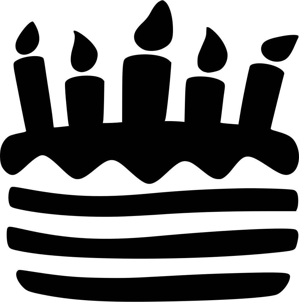 Birthday Cake Black And White Png