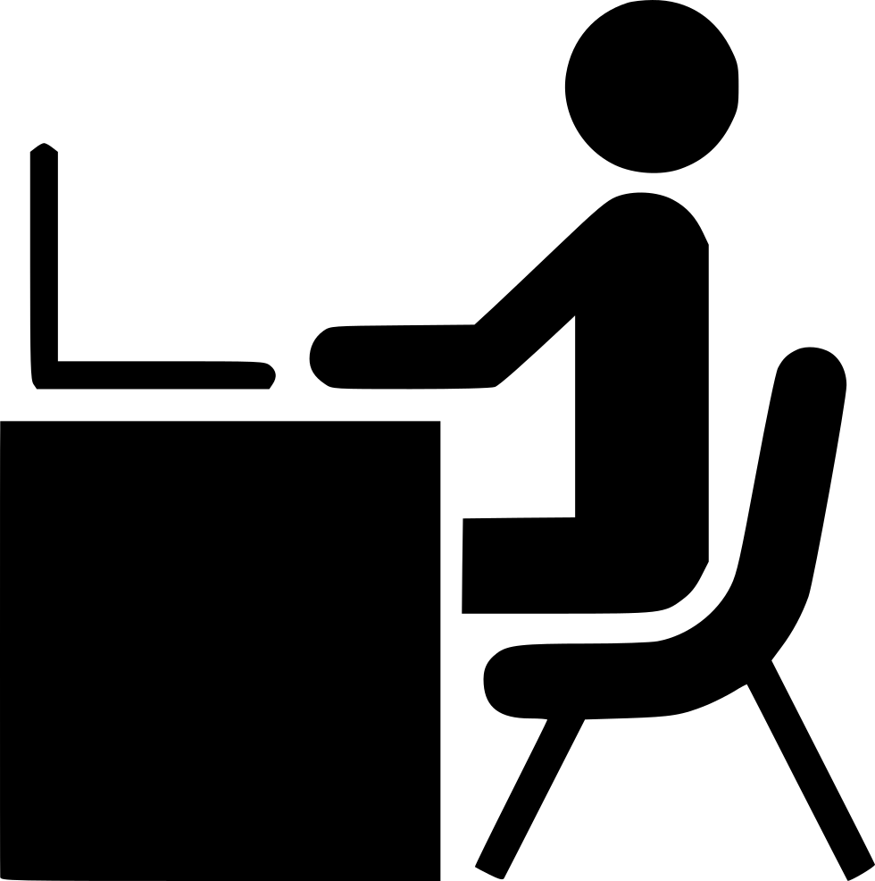 Man Desk Working Laptop Computer Office Work Person Svg ...