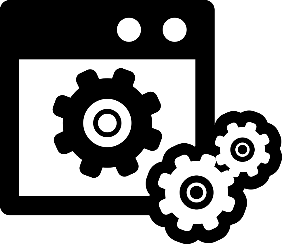 Data Settings Symbol Of A Window With Gears Svg Png Icon