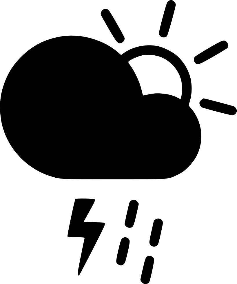 day thunderstorm cloud lightning rain shower sun svg png icon free
