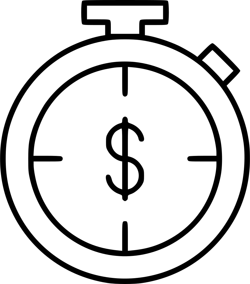 clock chronometer timekeeper dollar sign hourly rate svg png icon