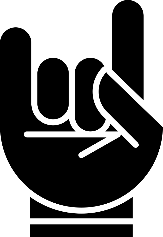 Hand With White Outline Forming A Rock On Symbol Svg Png Icon Free