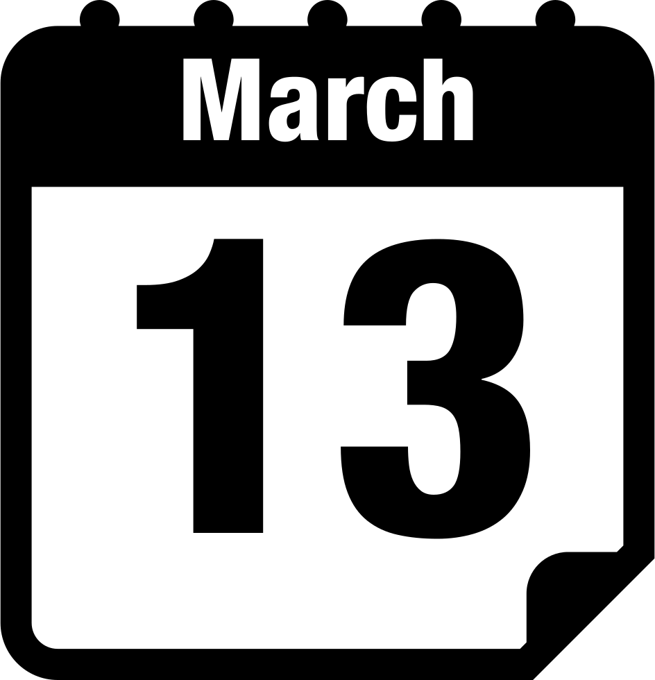 march 13 calendar page svg png icon free download   5873