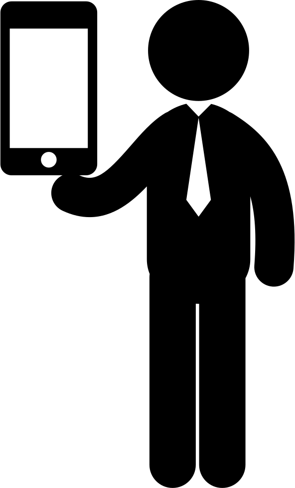 Standing Business Man With A Tablet On Hand Svg Png Icon