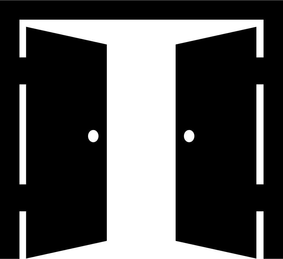 double door opened svg png icon free download 67193. Black Bedroom Furniture Sets. Home Design Ideas