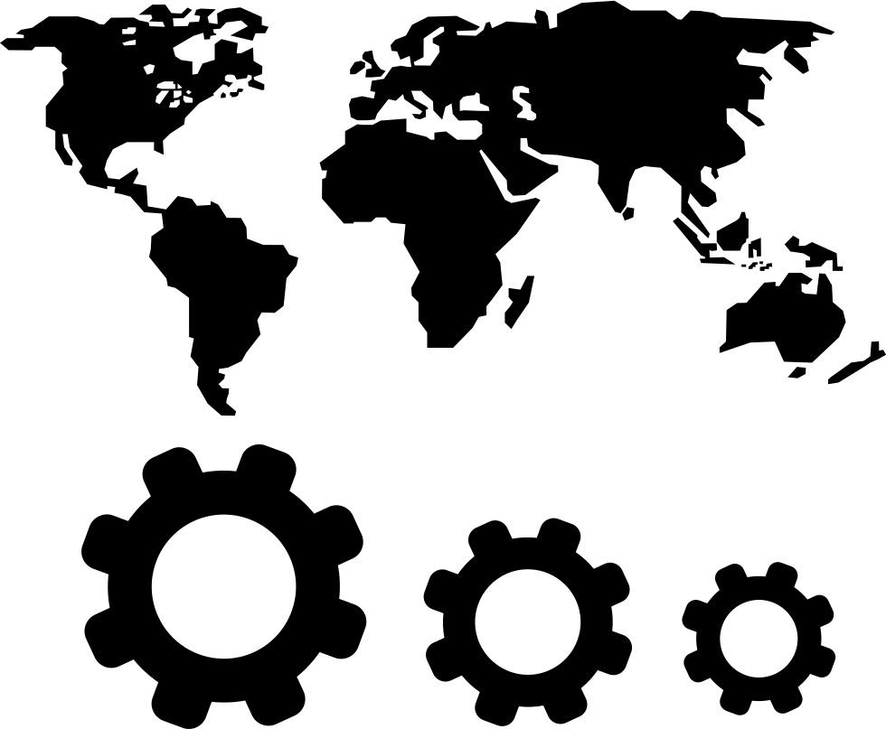 World map and gears symbols svg png icon free download 67810 png file gumiabroncs Gallery