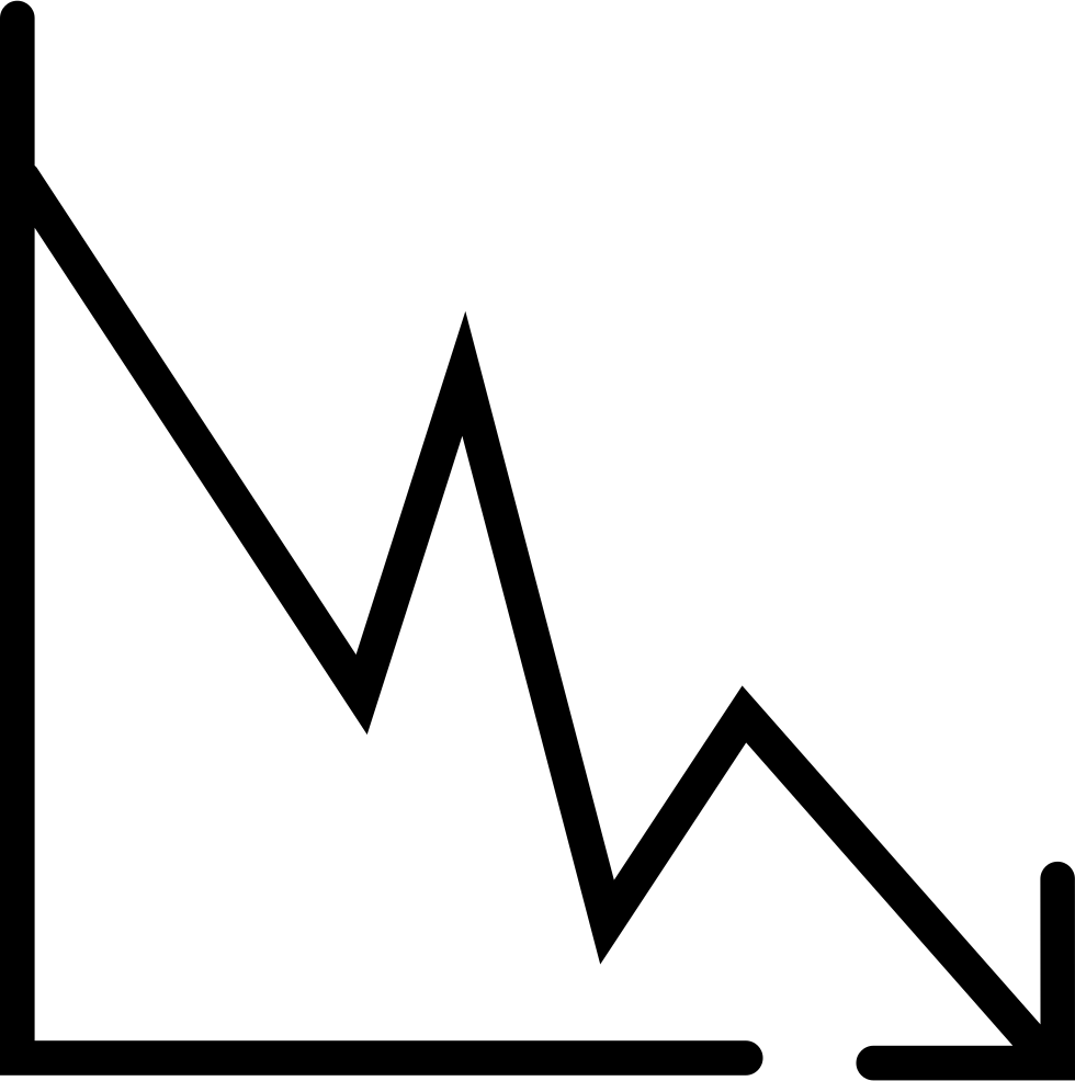 line graph down arrow svg png icon free download (#68248