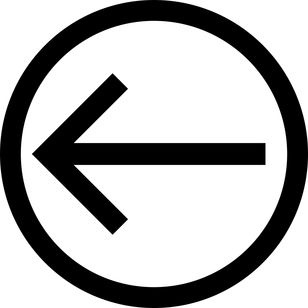 Arrow Direction To The Left Inside A Circle Outline Svg Png