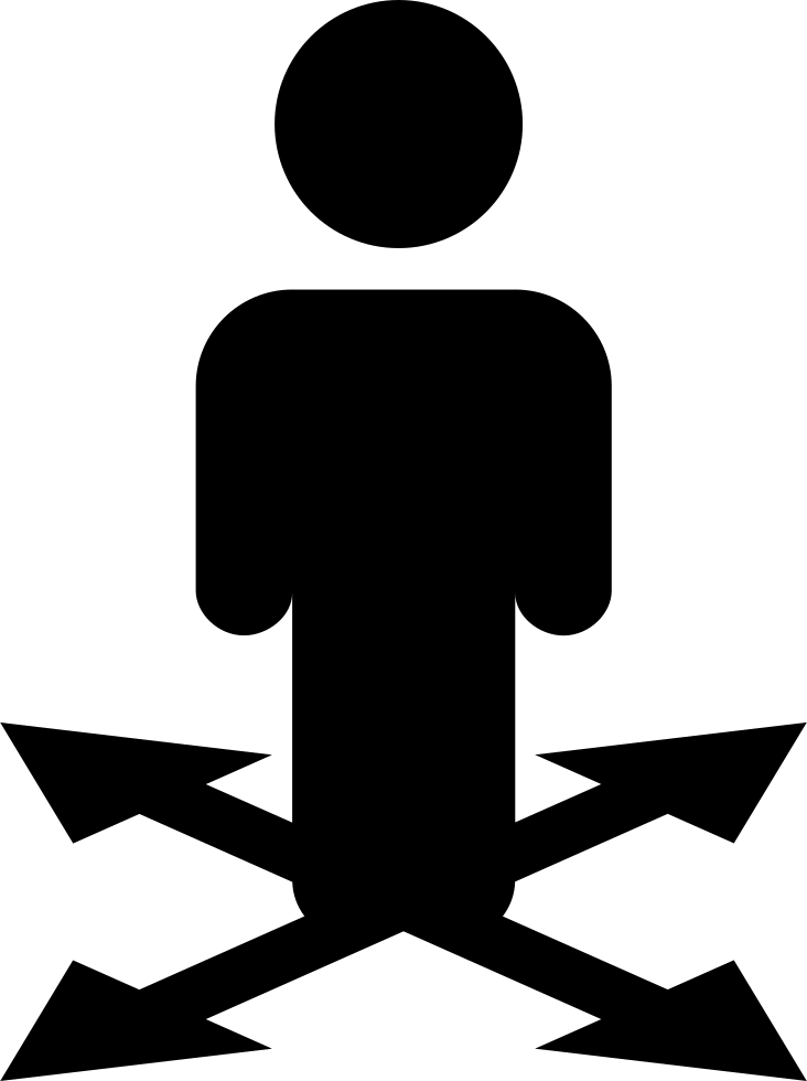 Man Standing Silhouette On Arrows Symbol Pointing To Four Directions