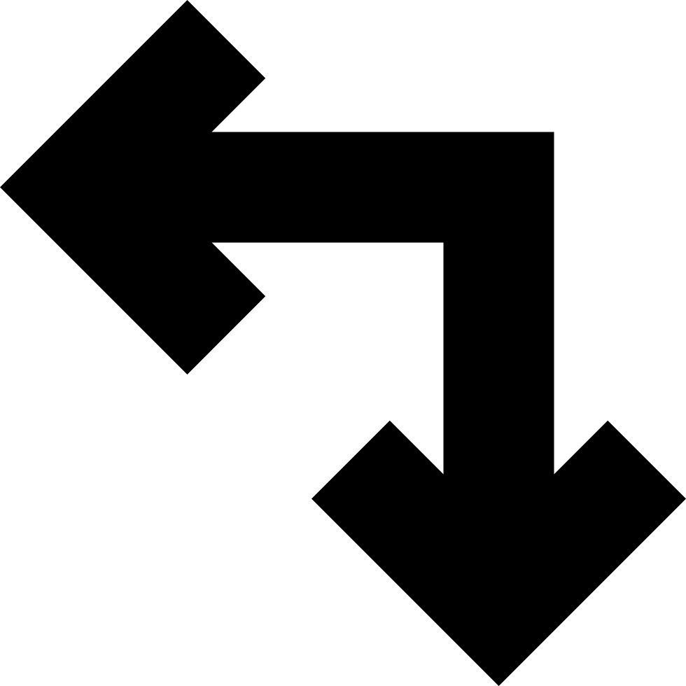 Two United Arrows In Straight Angle Pointing Left And Down