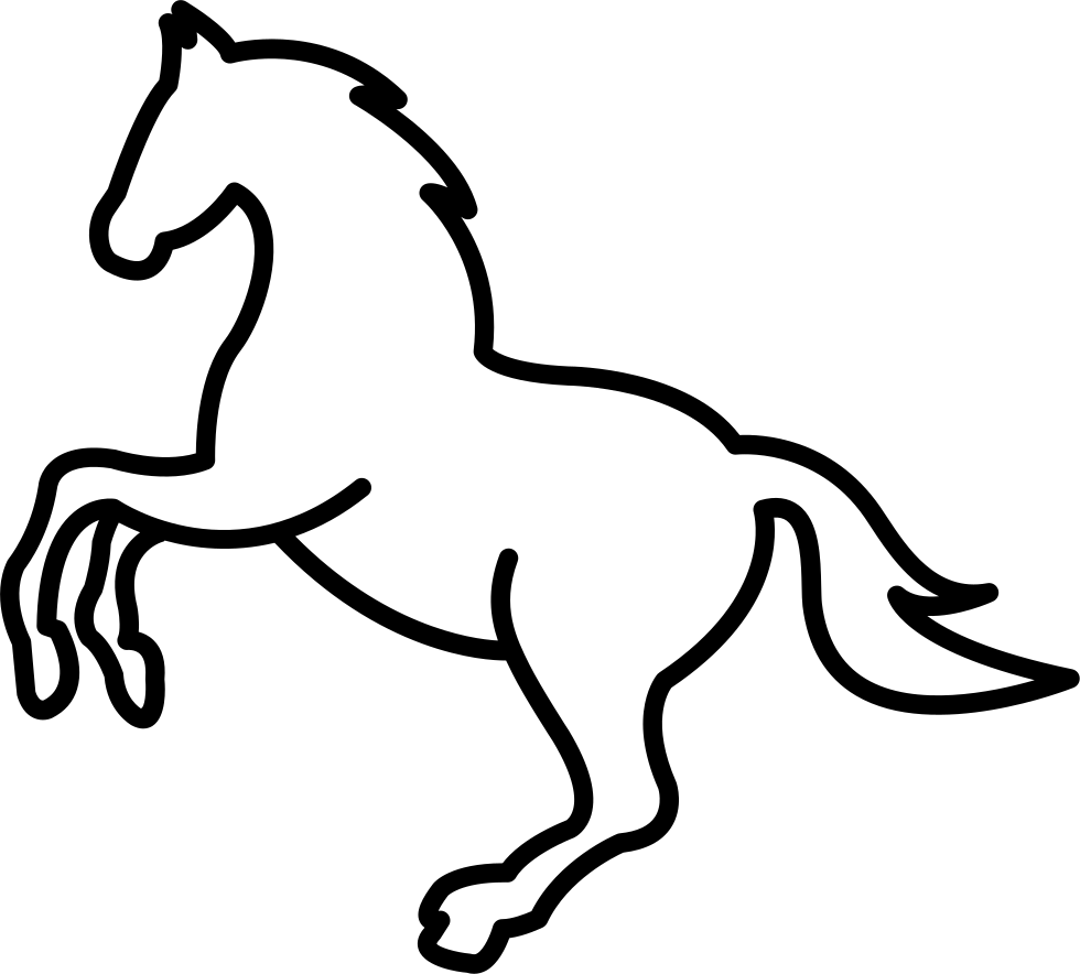 white jumping horse outline svg png icon free download   73749