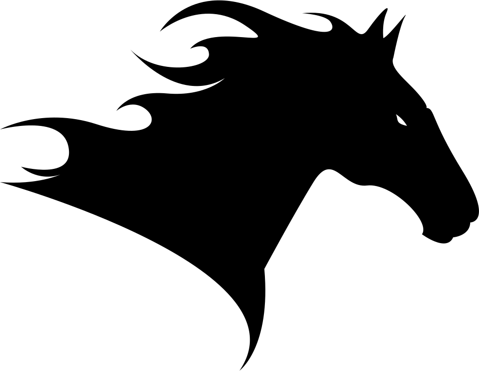 horse head side view to the right silhouette svg png icon free