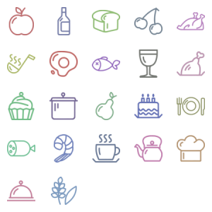 Cooking Outline Icon Set Black And White