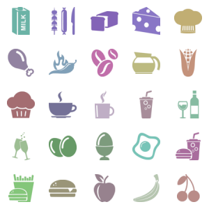 Food And Drink Glyph Icons Volume