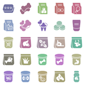 Food Stuff For Dog And Cat In Glyph Style