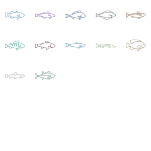 Fish Species Icon Set