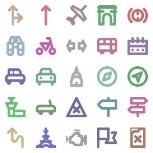 Cars Travelling Tiny Icons