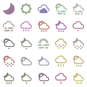 Mini Material Design Weather Icons Single Color