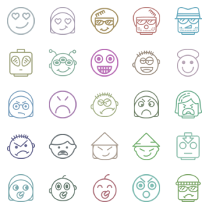 Smashicons Emoticons Outline