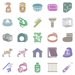 Dog And Cat Care Items In Glyph Style