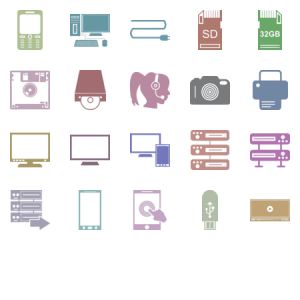Data Devices Glyph Icons Set