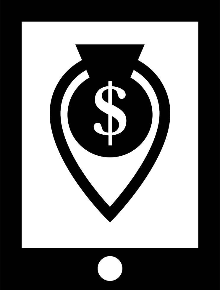 Money Location Symbol On Mobile Phone Screen