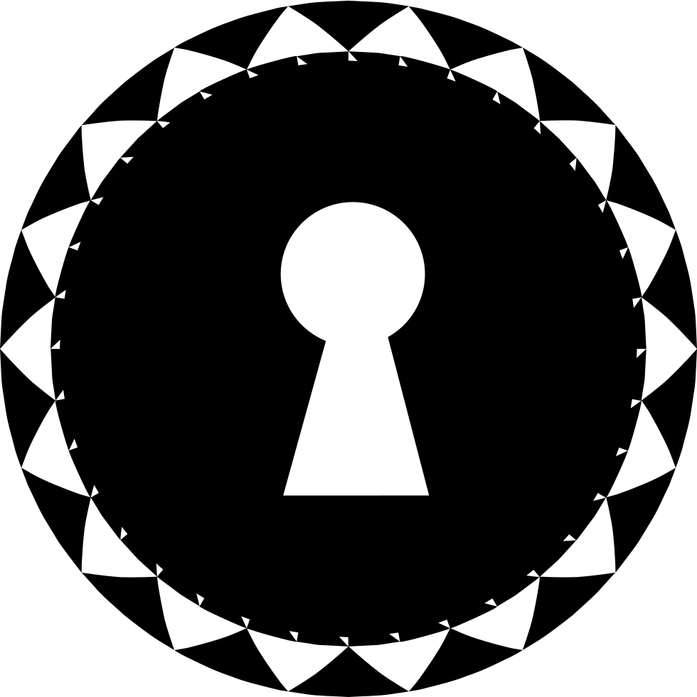 Keyhole Shape In A Circle With Small Triangles Border