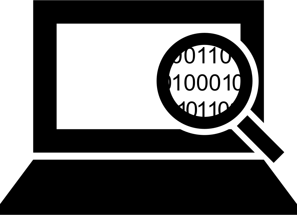 Computer Code Interface Symbol Of A Magnifier On Binary Code Of A Laptop
