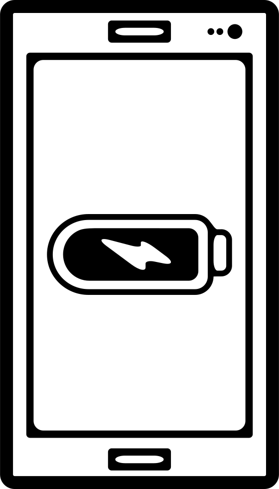Mobile Phone Outline With Full Battery Sign On Screen