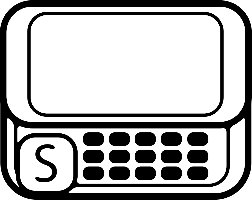 Mobile Phone Model With Keyboard Buttons And A Big Button With Letter S