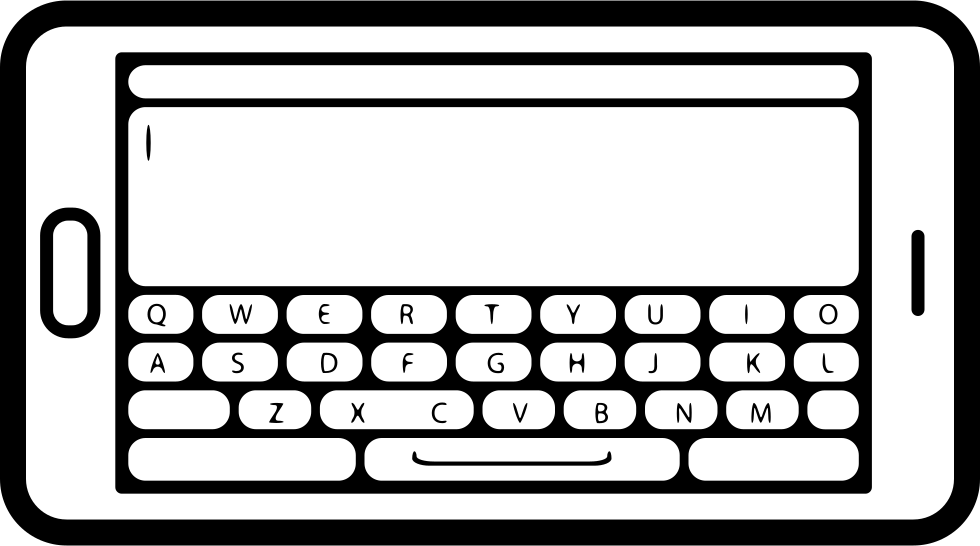 Mobile Phone In Horizontal Position With Keyboard View On Screen