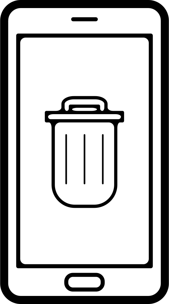 Recycle Bin Symbol On Phone Screen