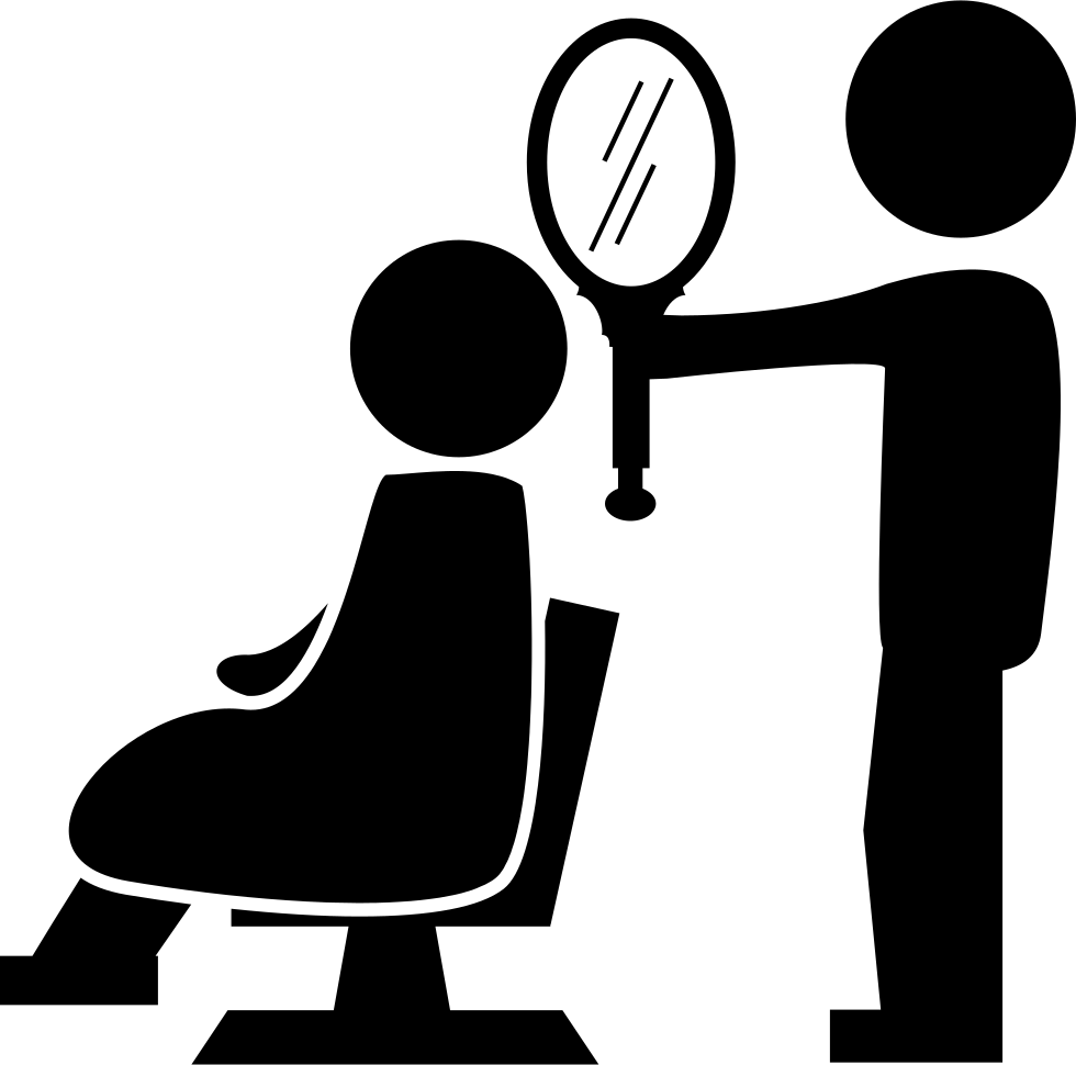 Hairdresser Showing A Mirror To The Client