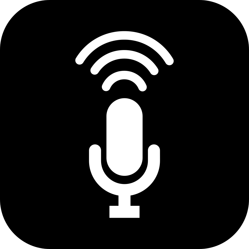 Open Microphone Inside A Rounded Square