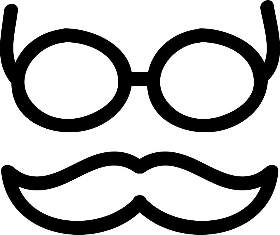 Mustache And Glasses Hand Drawn Outlines